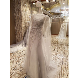 Wholesale Transparent Backless Sequin Dress - Luxury Robe De Soiree Sweet Gray Lace Beading Long Evening Dress Bridal Scoop Sleeveless Transparent Banquet Sexy Prom Dress