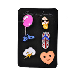 Wholesale Clouds Shirt - Wholesale- New Brooches For Women Sock Slipper Ice-cream Balloon Cloud Lightning Enamel Pin Shirt Bag Hat Decoration Jewelry Christmas Gift