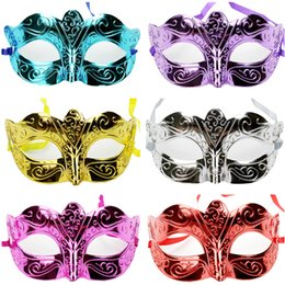 Wholesale Venice Half Masks - Mens Women Masquerade Masks Sexy Mardi Gras Hallowmas Venetian Eyes Half Face Mask Dance Party Venice Italy Simple Mask 0 92tx