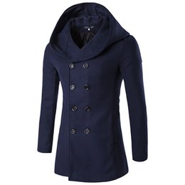Wholesale Trench Dark Blue - Wholesale- New Arrival Men Wool Coat With Hood Double Breasted High Quality Man Long trench coat Dark Blue Color Winter Clothing