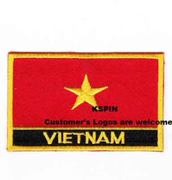 Wholesale Wholesale Vietnam - vietnam Flag Patches Iron on patches, logo embroidery patches, embroidery patches for clothing, Free Shipping