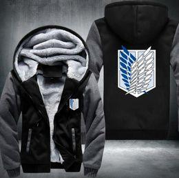 Wholesale Sleeve Extra Long - New Shingeki No Kyojin Attack on Titan Aren Thicken jacket hoodies coat extra cotton Black BLUE GREY RED USA Size