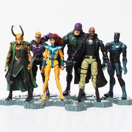 juguetes avengers de hawkeye Rebajas Los Vengadores 2Age De Ultron Pvc Figuras De Acción Juguetes Superheroes Negro Viuda Loki Hawkeye Nick Fury Phoenix Figura Juguete 6Pcs / Set