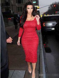 Wholesale Kim Kardashian Long Sleeve Dresses - Vestidos de Festa Red Lace Long Sleeves Evening Dresses Tea Length Square Neckline Kim Kardashian Gowns Sexy Sheath Celebrity Prom Gowns