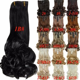 Wholesale Long Curly Wavy Hair Extensions - Free Shipping 8pcs set 20inch 16Colors Clip in Hair Extensions Long Hairpiece Curly Wavy Heat Resistant Synthetic Natural Hair Extension