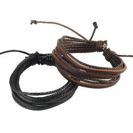 Wholesale Mens Leather Bracelet Wholesale China - Fashion Mens Bracelets Wrap Multilayer Genuine Leather Bracelet Summer Style Handmade Braided Rope Bracelets For Men