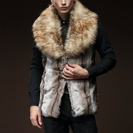 Wholesale Wool Vest Fur Collar - Wholesale- Artificial Wool Plus Size Men Vest Male Winter Coat Sleeveless Fake Fur Collar Chaleco Hombre Colete Masculino Social Outwear