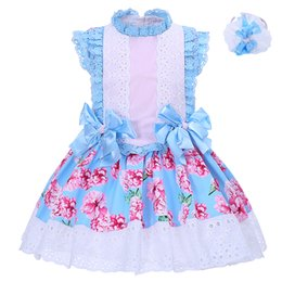 Wholesale Boutique Style Dresses Wholesale - Pettigirl Girls Summer Printed Flower Boutique Dress Children Blue Bow Lace Neck and Sleeves With Headband Kids Clothing G-DMGD001-1310