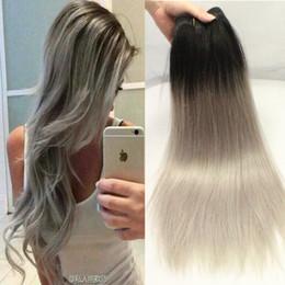 Wholesale Brazilian Hair Bundles Grey - Brazilian Virgin Hair Straight Grey Hair Weave Allrun Ombre Brazilian Hair Bundles 3 bundles  lot Brazilian Straight Weaving Free Shipping