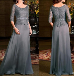 Wholesale Scoop Line Formal Dress - Vintage Grey Mother Of Bride Dresses With 3 4 Long Sleeves 2016 Jewel Lace Chiffon Women Evening Dress Wedding Party Gown Formal Wear