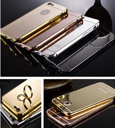 Wholesale Iphone 5s Aluminum Bumper Cases - 2017 Luxury Aluminum Ultrathin Mirror Metal Bumper tomkas Case PC Cover frame for iPhone 7 6 6S Plus 5S Samsung Galaxy S6 S7 edge note 7