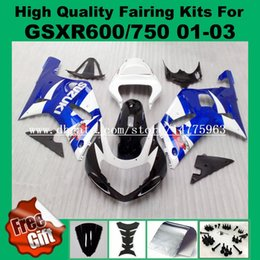 Wholesale Motorcycle Parts For Suzuki - 9Gifts fairings for SUZUKI GSXR600 750 01 02 03 GSXR600 GSXR750 2001 2002 2003 K1 GSX-R600 GSX-R750 ABS Fairing kits blue motorcycle parts
