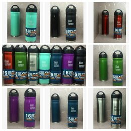 Wholesale Insulated Cap - Wide Mouth Bottle 16oz Vacuum Insulated Stainless Steel Water Bottle Wide Mouth Cap Sports Gear Cup Travel Water Bottles CCA6485 50pcs