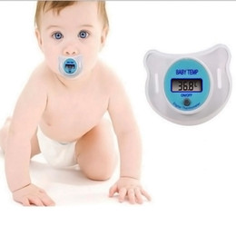 Wholesale Digital Lcd Soft Nipple Thermometer - Diagnostic-tool Portable Digital LCD Pacifier Thermometer For Baby Body Temperature Nipple Soft Safe Mouth Thermometer Baby Care