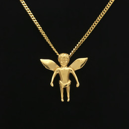 cool men chains pendants Coupons - New Fashion Kaulakoru 24K Gold Plated 60CM Chain Hip hop Angel Pendant Necklace Jewelry Trendy Cool Men Hiphop Pendant Necklaces
