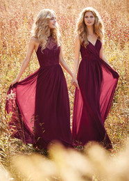 Wholesale Wine Color Evening Dress - Wine Red Bridesmaid Dresses Halter V Neck Prom Dress Long Evening Gowns boho wedding dress Country Western Wedding vestido longo Custom Made