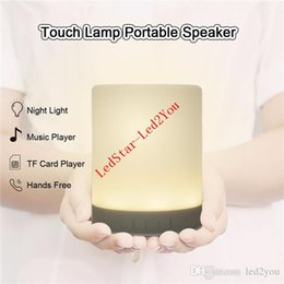 Wholesale Luxury Wedding Cards - Luxury Wireless Bluetooth Speaker lamp Colorful Touch LED Light Lamp With TF Card Music Player DC5V music table lamp