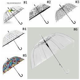 Wholesale Rain Patterns - Transparent Clear Arch Apollo Umbrella Birdcage Pattern Rain Girls Princess Umbrellas Wedding Party Favor 6 Styles OOA2387