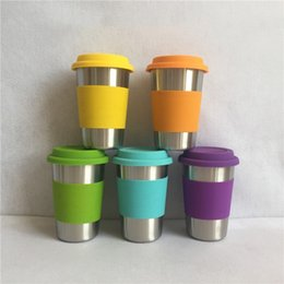 Wholesale Silicone Sleeve Cups - 304 Stainless Steel Beer Cups with Silicone Cover Anti Scaled Sleeve for Children Kids Anti Dropping Cups 500ml
