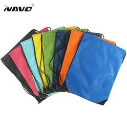 Wholesale Cheap String Bags - Wholesale- Portable sack cheap polyester nylon drawstring backpack simple Solid bag back bag for travel drawstring bag for books shoes