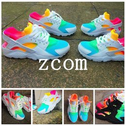 Wholesale Rainbow 45 - 2017 Air Huaraches Rainbow Running Shoes for Men Women Sneakers Huarache Ultra Breath Huraches Multicolor Sports Athletic Size 36-45