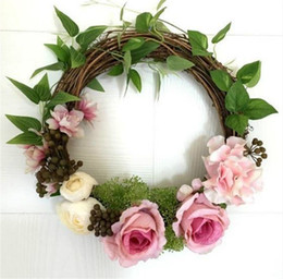 Wholesale Rose Swags - Artificial Silk Rose Flower Wreath Door Wreath Artificial Garland Swag Door Trim Garishness Wedding Party Decor Home Decoration