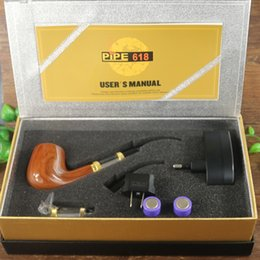 Wholesale Cool E Pipes - Wholesale-E pipe 618 vaporizer vape pen starter kit cool design wooden style fast shipping electronic cigarette