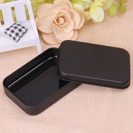 Wholesale Empty Gift Boxes - 500pcs Mini Tin Box Small Empty Black Metal Storage Box Case Organizer For Money Coin Candy Keys Playing Card Gift Box ZA4830