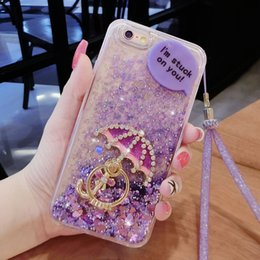 Wholesale Diamond Mobile Phone Cover - For IPhone7 plus mobile phone shell 6S protective cover sand diamond shell apple7 ring bracket mobile phone case lanyard silicone case