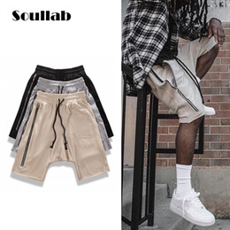 Wholesale Men S Boy Shorts Low - Wholesale- full zipper earth color men big pocket bottom cotton shorts dropcrotch jogger sweat skate skateboard boys guys clothes brand new