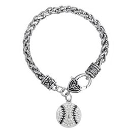 Wholesale Round Rhinestone Clasps - European & American baseball softball Round Clear rhinestone Sliver Color charm Thick Wheat Chain sports gifts Lobster clow clasps Bracelet