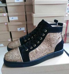 Wholesale Strass Crystal Shoes - High Quality Fashion Unisex Genuine Leather Red Rhinestone Crystal Diamond Strass Mens Shoes Brand Fashion Women Luxury Casual Sneaker Flat