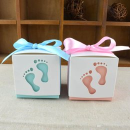 Wholesale Sweet Packing - Candy Box Creative Engraved Baby Footprint Shape Full Moon Wedding Gift Packing Cute Bowknot Sweets Case With Ribbon 0 32wj R