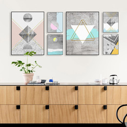 Wholesale Texture Abstract Panel Paintings - Modern Nordic Abstract Geometric Texture Shape Big Wall Art Print Poster Canvas No Frame Living Room Home Decor Picture Painting