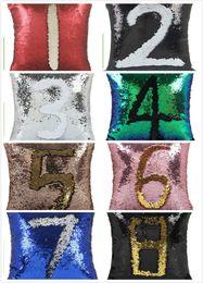 Wholesale sequins pillows - DHL Sequins Pillow Case Sequin Cushion Mermaid Magic Rainbow Reversible Pillow Cover Sofa Bright Glitter Car Cushion Home Decorative