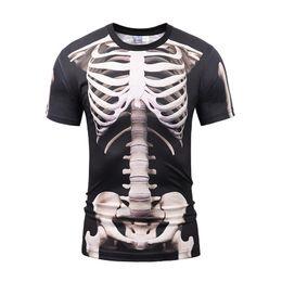 Wholesale Boys Skeleton Shirt - mens T shirts for men designer shirts T-shirt for boys both side skeleton print black top Fake two piece summer short sleeve BL-043