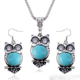 Wholesale Horn Earring Silver - Vintage Bohemian Alloy Turquoise Necklace Earrings Set Cute Exaggerated Owl Pendant Jewelry Sets for Women Jewelry Accessories