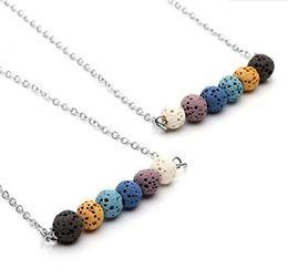 Wholesale Oil Colours - New Lava-rock Round Bead Pendant Necklaces Aromatherapy Essential Oil Diffuser Necklaces Coloured Lava Pendant Necklace Sweater Chain