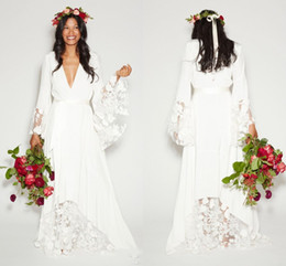Wholesale Bohemian Style Wedding Dresses - 2017 Fall Winter Beach BOHO Wedding Dresses Bohemian Beach Hippie Style Bridal Gowns with Long Sleeves Lace Flower Custom Plus Size Cheap