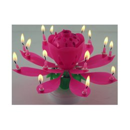Wholesale Happy Birthday Musical Flower Candle - New Art Musical Birthday Candle 2 Layer 14 Candles Lamp Lotus Flower Happy Birthday Party Gift Rotating Lights Decoration