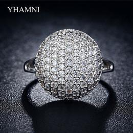 Wholesale Bella White - YHAMNI 100% Pure Silver Bella Engagement Ring White Jewelry Fashion Accessories Luxury Diamond Inlay Fashion jewelry R043