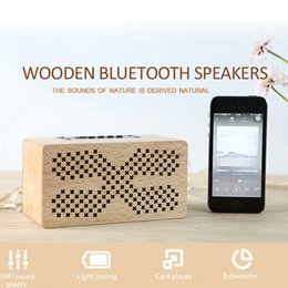 Wholesale Tf Card Boombox - Mini Portable Bluetooth 4.0 Speakers Wooden Boombox Wireless Sound Speaker With TF Card 1500mAh big battery AUX transmission