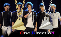 Wholesale Silver Paper Airplane - Hot Charm Pendant Necklaces Jewellry Accessories Unidirectional Band One Direction Men Women Paper Airplane Golden Silver Plated Jewelry