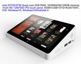 Wholesale Quad Core 7inch - 10pcs 7inch HD screen Touch panel Dual Boot Android4.4 Windows10 Intel 3735 3736 2GB 32GB IPTV streaming TV Box PC Box RJ45 USB HDMI