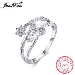 Wholesale Unique Promise Rings - dhgate Unique Five Pointed Star Shape 100% 925 Sterling Silver Ring Women Bridal Wedding Party Promise Ring Adjustable Jewelry