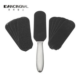 Wholesale Paper Remover - Wholesale- Stainless Steel Double Side Pedicure Foot File +10pcs Dry Sanding Paper Rasp Callus Hard Skin Remover Feet Care Pedicure Tools