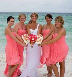 Wholesale Ivory Junior Brides Dress - Bridesmaid Dresses 2017 Beach Coral Short Chiffon Sweetheart cheap Bridesmaids Dresses Pleated Brides maid Party Dress