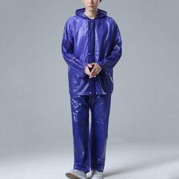Wholesale Nylon Pant Suit - New Arrival Adult Raincoat Suit Motorcycle Bicycle Biking Rain Jacket Suit Waterproof Rainwear Tops+Pants JL0054