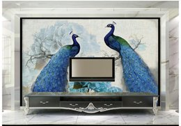 Wholesale Peacock Wall Paper - Free shipping High Quality Custom 3d wallpaper murals Blue peacock retro flower painting rich background wall paper room wallpaper decor