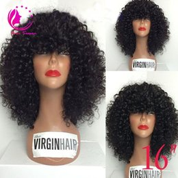 Wholesale Glueless Lace Bangs - Glueless Full Lace Wig Mongolian hair Full Lace Human Hair Wigs For Black Women Best Lace Front Wig With Full Bangs